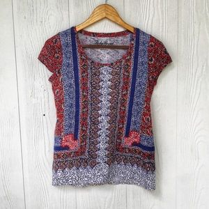 Lucky Brand T Shirt in Red Blue Size XS